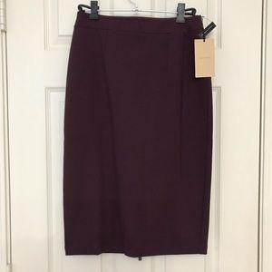 Halogen Ponte Pencil Skirt Burgundy Size 0 BNWT